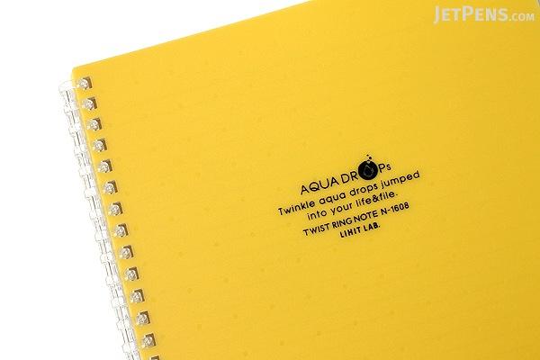 Lihit Lab Aqua Drops Twist Ring Notebook - Semi B5 - Lined - 30 Sheets - Yellow - Bundle of 5 - LIHIT LAB N-1608-5 BUNDLE