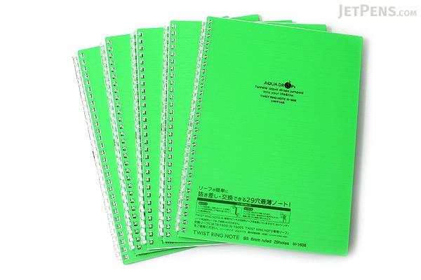 Lihit Lab Aqua Drops Twist Ring Notebook - Semi B5 - Lined - 30 Sheets - Yellow Green - Bundle of 5 - LIHIT LAB N-1608-6 BUNDLE