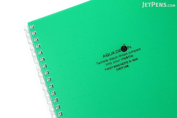 Lihit Lab Aqua Drops Twist Ring Notebook - Semi B5 - Lined - 30 Sheets - Green - Bundle of 5 - LIHIT LAB N-1608-7 BUNDLE