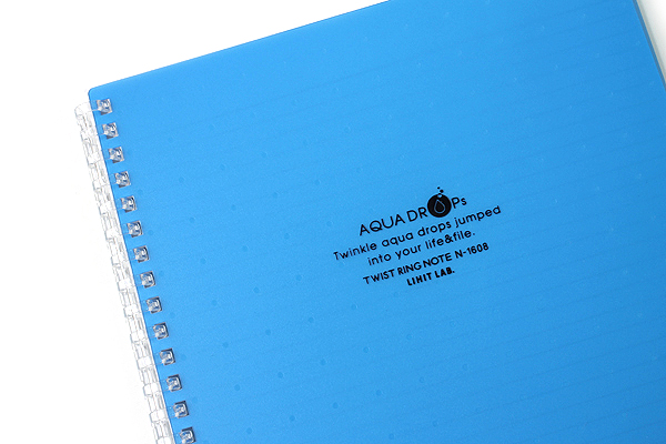 Lihit Lab Aqua Drops Twist Ring Notebook - Semi B5 - Lined - 30 Sheets - Blue - Bundle of 5 - LIHIT LAB N-1608-8 BUNDLE