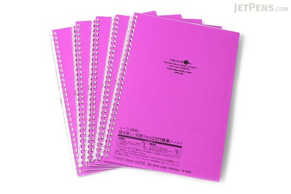 Lihit Lab Aqua Drops Twist Ring Notebook - Semi B5 - Lined - 30 Sheets - Fuji Purple - Bundle of 5 - LIHIT LAB N-1608-10 BUNDLE