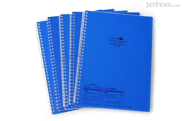 Lihit Lab Aqua Drops Twist Ring Notebook - Semi B5 - Lined - 30 Sheets - Indigo Blue - Bundle of 5 - LIHIT LAB N-1608-11 BUNDLE