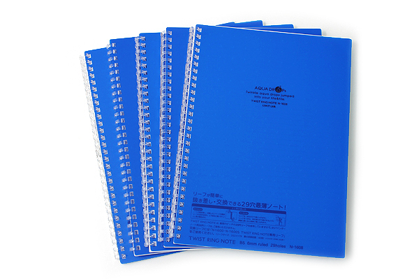 Lihit Lab Aqua Drops Twist Ring Notebook - Semi B5 - Lined - 30 Sheets - Indigo Blue - Bundle of 5 - LIHIT LAB N-1608-11 BUNDLE