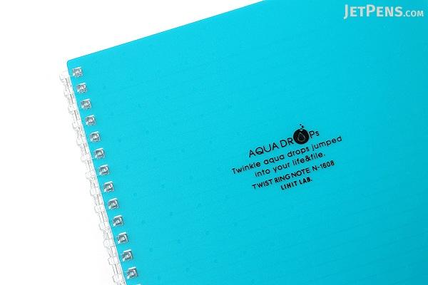 Lihit Lab Aqua Drops Twist Ring Notebook - Semi B5 - Lined - 30 Sheets - Blue Green - Bundle of 5 - LIHIT LAB N-1608-28 BUNDLE