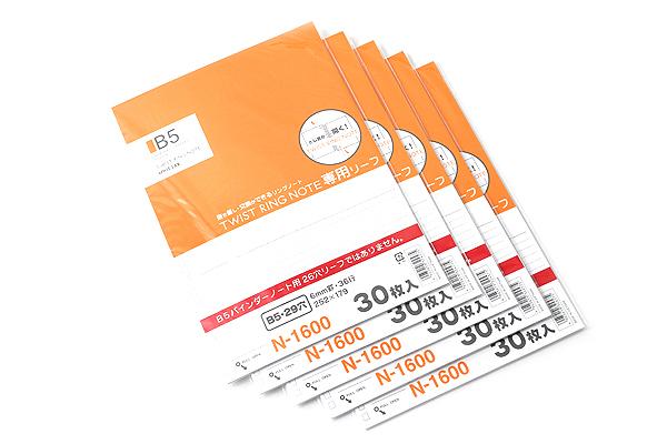 Lihit Lab Twist Ring Notebook Loose Leaf Paper - Semi B5 - Lined - 30 sheets - Bundle of 5 - LIHIT LAB N-1600 BUNDLE