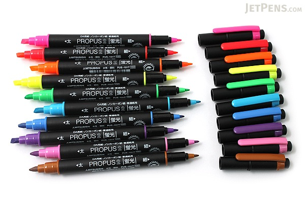 Uni Mitsubishi Propus 2 Double-Sided Highlighter - 4.0 mm / 0.6 mm Twin Tip - Brown - UNI PUS101TN.21