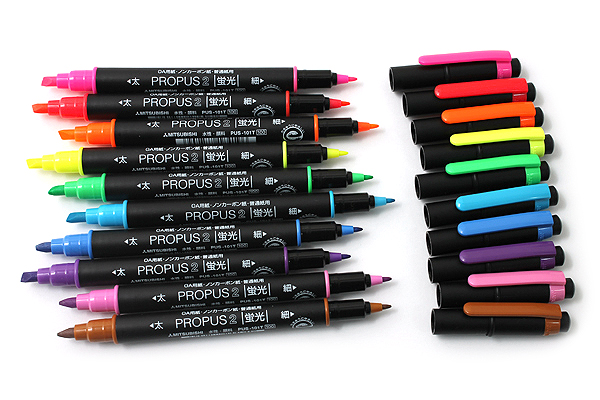 Uni Mitsubishi Propus 2 Double-Sided Highlighter - 4.0 mm / 0.6 mm Twin Tip - Sky Blue - UNI PUS101TN.48