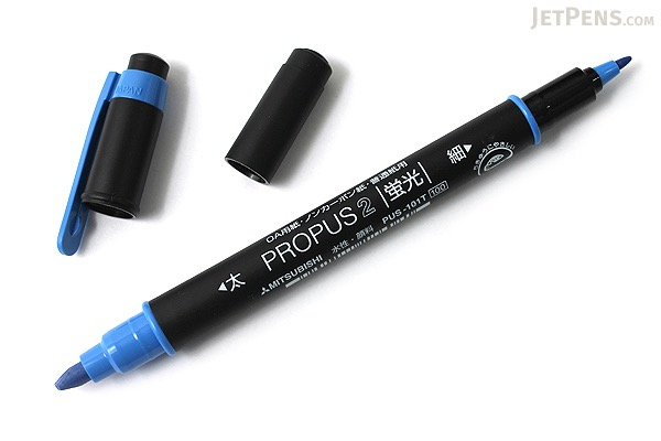 Uni Mitsubishi Propus 2 Double-Sided Highlighter - 4.0 mm / 0.6 mm Twin Tip - Blue - UNI PUS101TN.33