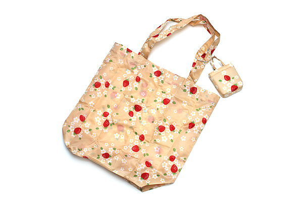 Kurochiku Japanese Pattern Eco-Bag - Small - Hana Ichigo (Flower Strawberry) - KUROCHIKU 21006801