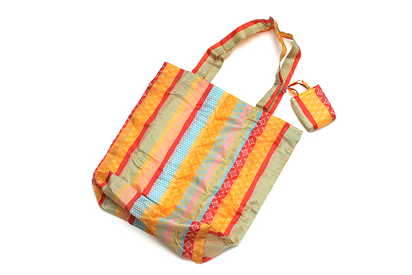 Kurochiku Japanese Pattern Eco-Bag - Small - Yorokejima Komon (Stripe Fine Pattern) - KUROCHIKU 21006809
