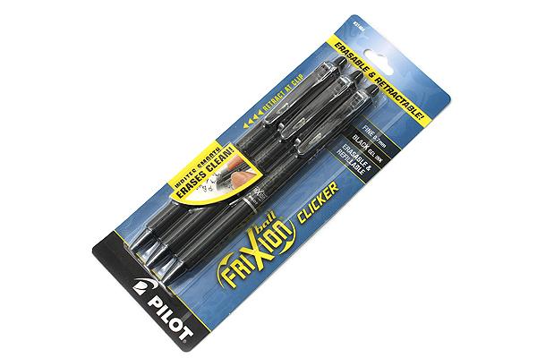 Pilot FriXion Ball Clicker US Erasable Gel Pen - 0.7 mm - Black - Pack of 3 - PILOT FXCC3BLKF