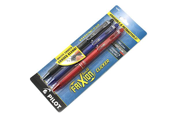 Pilot FriXion Ball Clicker US Erasable Gel Pen - 0.7 mm - 3 Color Set (Black / Blue / Red) - PILOT 31467