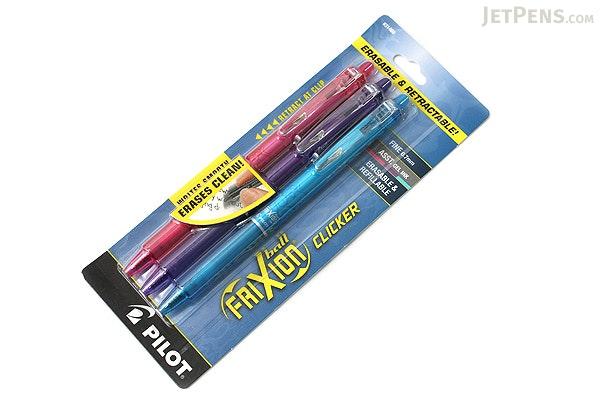 Pilot FriXion Ball Clicker US Erasable Gel Pen - 0.7 mm - 3 Color Set (Pink / Purple / Turquoise) - PILOT FXCC3002F