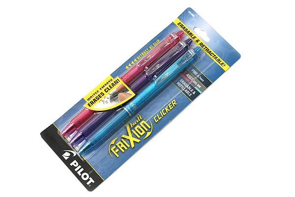Pilot FriXion Ball Clicker US Erasable Gel Pen - 0.7 mm - 3 Color Set (Pink / Purple / Turquoise) - PILOT 31469