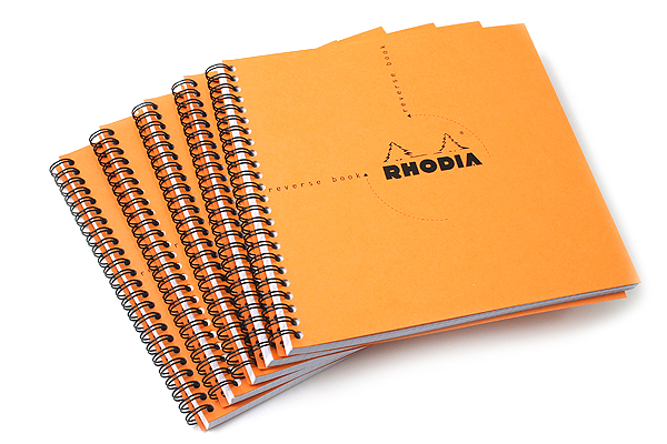 "Rhodia Reverse Book - Orange - 8.25"" x 8.25"" - 80 Sheets - Graph - Bundle of 5 - RHODIA 193608 BUNDLE"