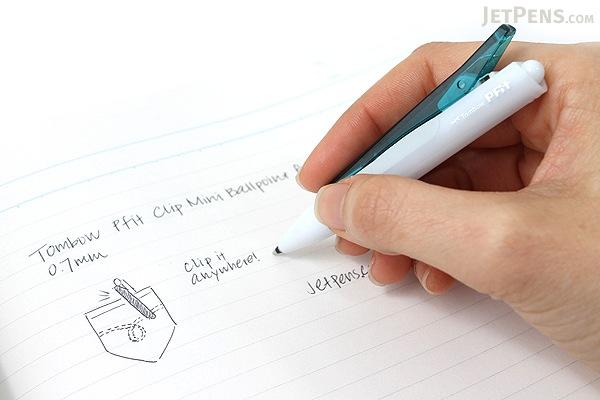 Tombow Pfit Clip Mini Ballpoint Pen - 0.7 mm - Emerald Green Clip - TOMBOW BC-SCP60