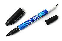 Tombow Ippo Double-Sided Name Marker - 0.8 mm / 0.4 mm Twin Tip - Black Ink - Stripes Body - TOMBOW MCC-111A