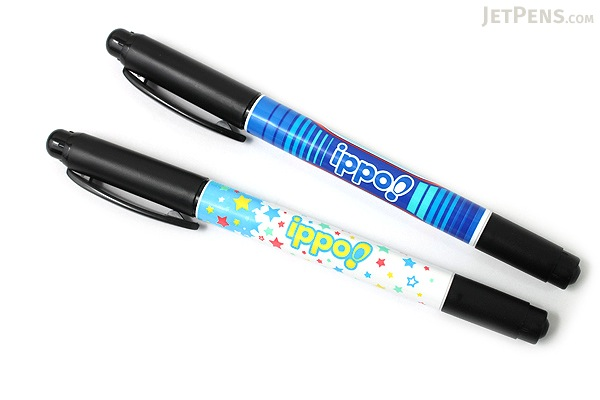 Tombow Ippo Double-Sided Name Marker - 0.8 mm / 0.4 mm Twin Tip - Black Ink - Stars Body - TOMBOW MCC-111B