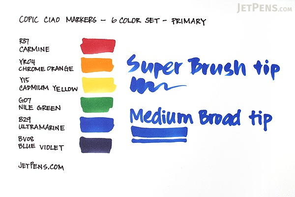 Copic Ciao Marker 6 Color Set Primary Jetpens Com
