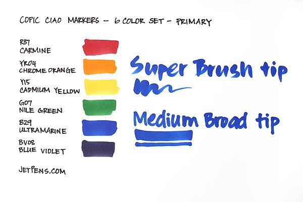 Copic Ciao Marker - 6 Color Set - Primary - COPIC I6PRIMARY