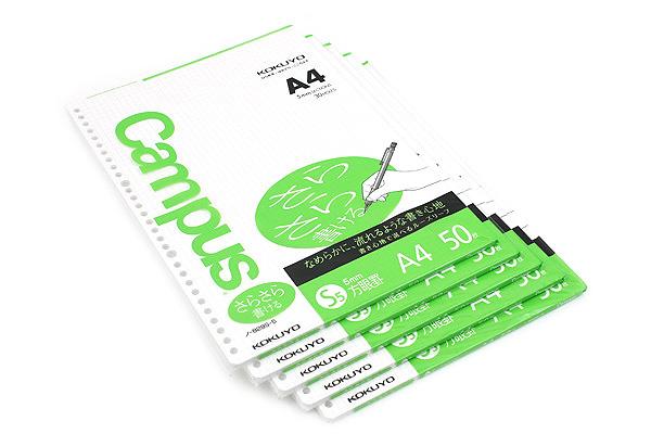 Kokuyo Campus Loose Leaf Paper - Sarasara - A4 - 5 mm Graph - 30 Holes - 50 Sheets - Bundle of 5 - KOKUYO NO-829S-5 BUNDLE