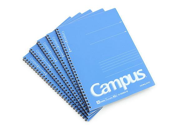 Kokuyo Campus Twin Ring Notebook - Semi B5 - 7 mm Rule - 40 Sheets - Blue - Bundle of 5 - KOKUYO SU-T205A-B BUNDLE