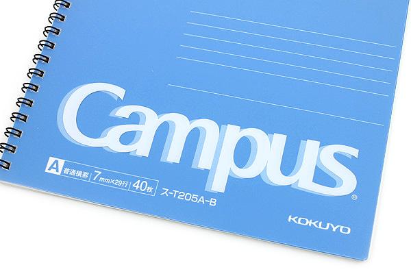 Kokuyo Campus Twin Ring Notebook - Semi B5 - 7 mm Rule - Blue - KOKUYO SU-T205A-B