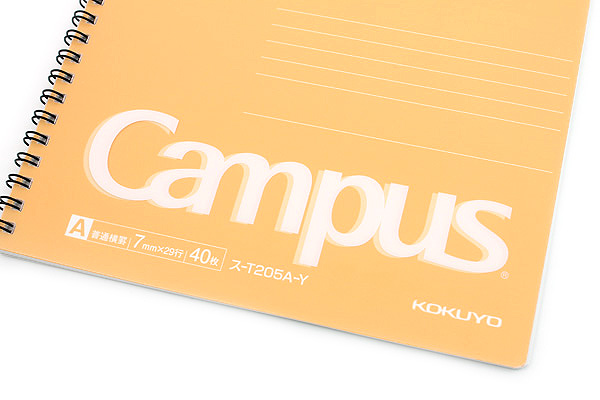 Kokuyo Campus Twin Ring Notebook - Semi B5 - 7 mm Rule - Yellow - KOKUYO SU-T205A-Y