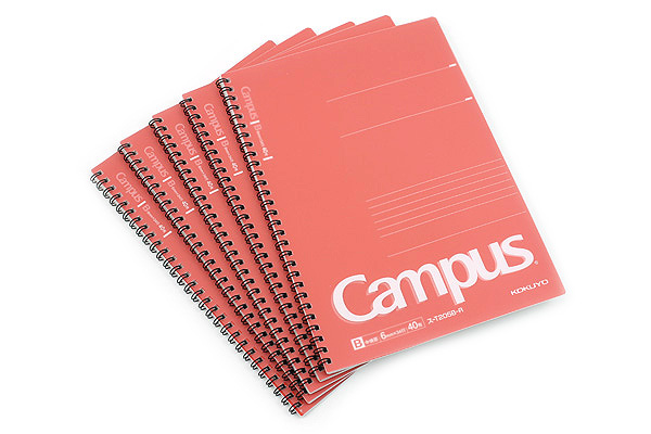 Kokuyo Campus Twin Ring Notebook - Semi B5 - 6 mm Rule - 40 Sheets - Red - Bundle of 5 - KOKUYO SU-T205B-R BUNDLE