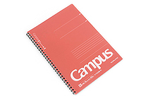Kokuyo Campus Twin Ring Notebook - Semi B5 - 6 mm Rule - Red - KOKUYO SU-T205B-R