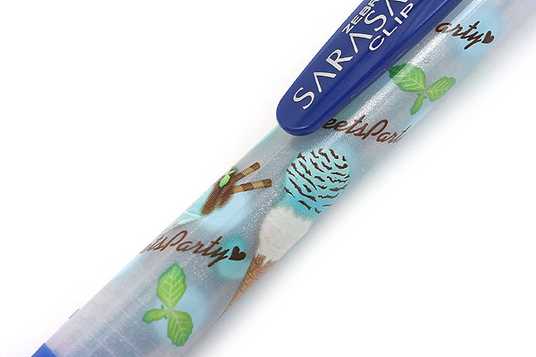 Zebra Limited Edition Sarasa Clip Sweets Party Scented Gel Ink Pen - 0.5 mm - Chocolate Mint Ice Cream - Blue - ZEBRA JJ29-S-BL
