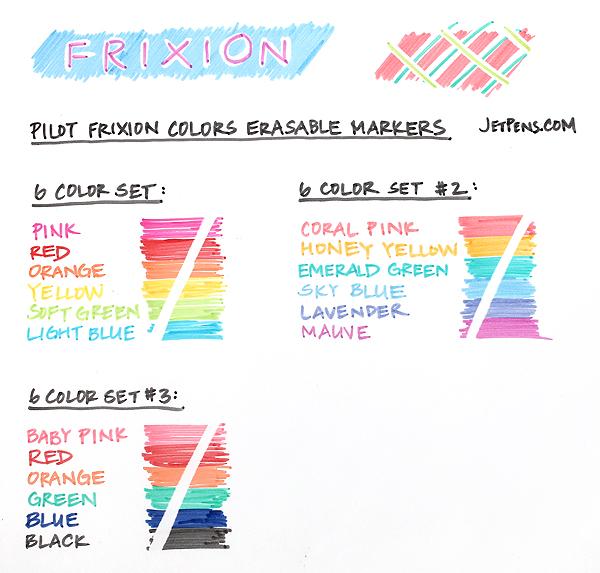 Pilot FriXion Colors Erasable Marker - 6 Color Set - PILOT SFC-60M-6C