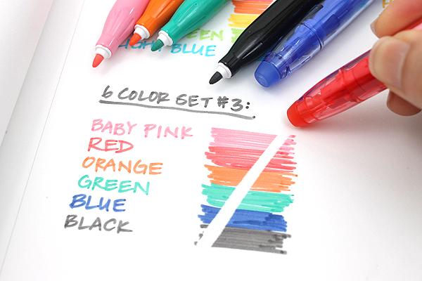 Pilot FriXion Colors Erasable Marker - 6 Color Set 3 - PILOT SFC-60M-6C3