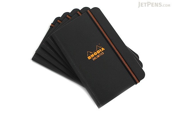 "Rhodia Unlimited Notebook - 3.5"" x 5.5"" - Lined - Black - Bundle of 5 - RHODIA 118059B BUNDLE"