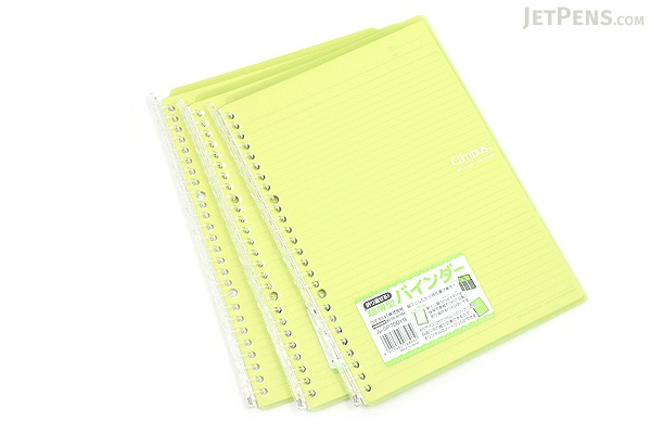 Kokuyo Campus Smart Ring Binder Notebook - B5 - 26 Rings - Yellow Green - Bundle of 3 - KOKUYO RU-SP700YG BUNDLE