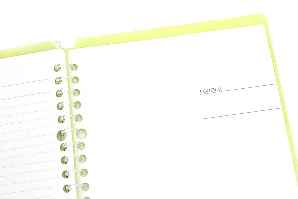 Kokuyo Campus Smart Ring Binder Notebook - A5 - 20 Rings - Yellow Green - Bundle of 3 - KOKUYO RU-SP130YG BUNDLE