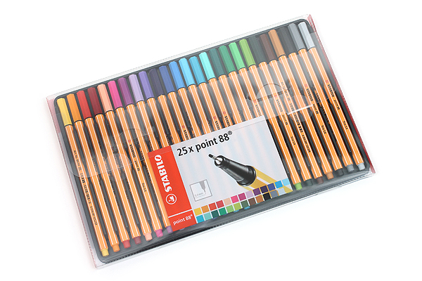 Stabilo Point 88 Fineliner Marker Pen - 0.4 mm - 25 Color Set - Wallet - STABILO 8825-1