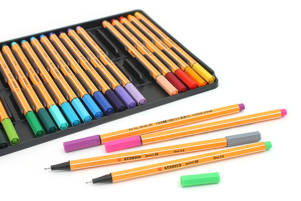 Stabilo Point 88 Fineliner Marker Pen - 0.4 mm - 25 Color Set - Wallet - STABILO 8825-1