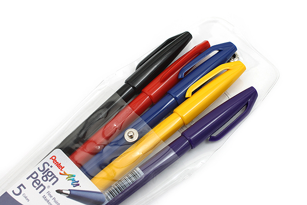 Pentel Sign Pen - Fine Point - 5 Color Set - PENTEL S520-5