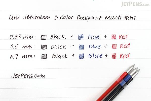 Uni Jetstream 3 Color Ballpoint Multi Pen - 0.7 mm - Black Body - UNI SXE340007.24