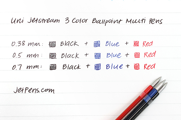 Uni Jetstream 3 Color Ballpoint Multi Pen - 0.7 mm - Black Body - UNI SXE340007.24