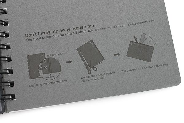 Kyokuto F.O.B COOP W Ring Notebook with Pocket - B6 - 7 mm Rule - Black - Bundle of 3 - KYOKUTO PT239K BUNDLE