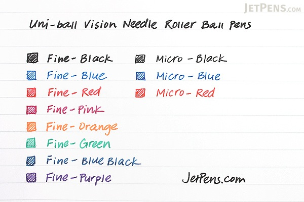 Uni-ball Vision Needle Rollerball Pen - Fine Point - 8 Color Set - UNI-BALL 1734916