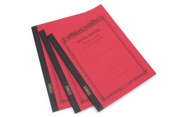 Apica CD Notebook - CD15 - Semi B5 - 6.5 mm Rule - Red - Bundle of 3 - APICA CD15RN BUNDLE