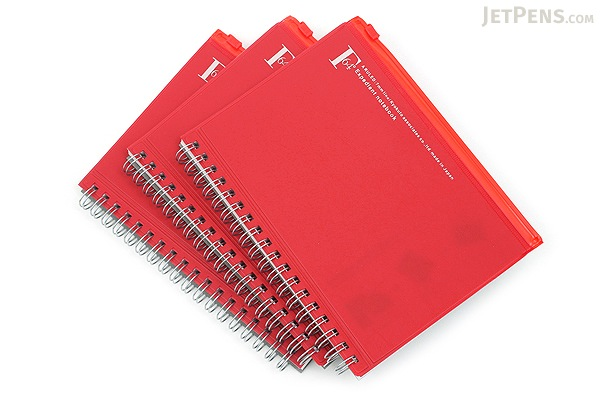 Kyokuto F.O.B COOP W Ring Notebook with Pocket - B6 - 7 mm Rule - Red - Bundle of 3 - KYOKUTO PT239R BUNDLE
