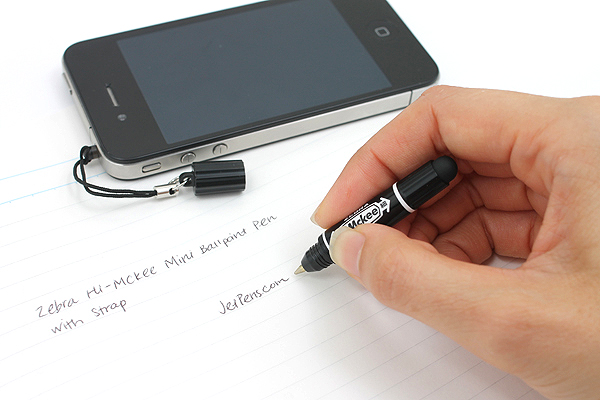 Zebra Hi-Mckee Mini Ballpoint Pen + Stylus with Strap - 0.7 mm - Black Body - ZEBRA BA83-BK