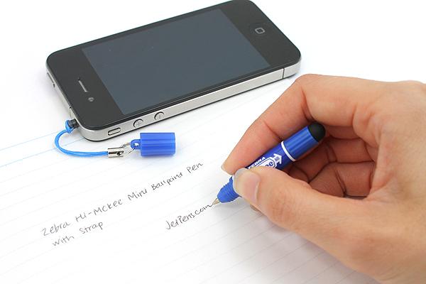 Zebra Hi-Mckee Mini Ballpoint Pen + Stylus with Strap - 0.7 mm - Blue Body - ZEBRA BA83-BL