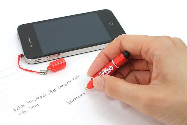Zebra Hi-Mckee Mini Ballpoint Pen + Stylus with Strap - 0.7 mm - Red Body - ZEBRA BA83-R