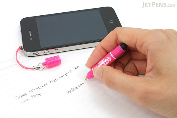Zebra Hi-Mckee Mini Ballpoint Pen + Stylus with Strap - 0.7 mm - Pink Body - ZEBRA BA83-P