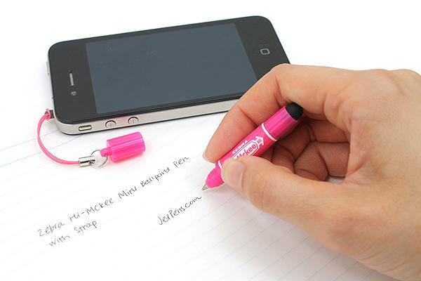 Zebra Hi-Mckee Mini Ballpoint Pen + Stylus with Strap - 0.7 mm - Pink Body - ZEBRA BA83-P